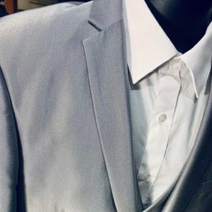 NWT Shiny Silver Slim Fit Suit 42S